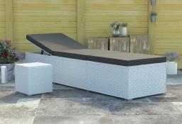 vidaXL Leżak z poduszką i stolikiem, polirattan, biały46229