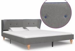 vidaXL Rama łóżka, jasnoszara, tapicerowana tkaniną, 160 x 200 cm 280575