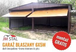 Garaż blaszany 6x5m | bramy uchylna - szeroki trapez | dach dwuspadowy