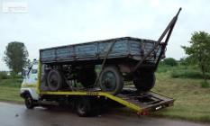 Transport lawetą maszyn rolniczych przyczep rozrzutników i innych