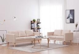 vidaXL Zestaw 2 sof tapicerowanych tkaniną, kremowy276851