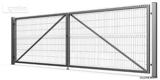 Brama wjazdowa dwuskrzydłowa rozwierna, wypełniona panel 3D 400/153cm