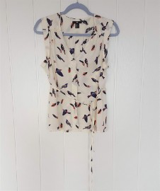 Śliczna bluzka H&M 36 S kremowa w jaskółki ptaki wzór ptak wróble