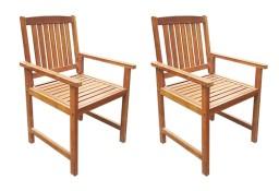 vidaXL Krzesła ogrodowe, 2 szt., lite drewno akacjowe, brązowe 42626