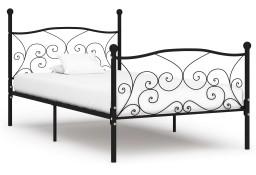 vidaXL Rama łóżka ze stelażem z listw, czarna, metalowa, 100 x 200 cm284455