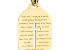Medalik złoty pr. 585 z krzyżykiem i modlitwą Ojcze nasz - Prezent na Komunie