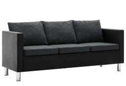 vidaXL Sofa 3-osobowa obita sztuczną skórą, czarno-ciemnoszara247169