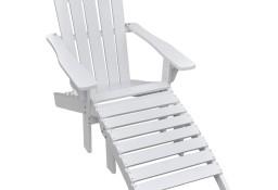 vidaXL Krzesło ogrodowe z podnóżkiem, drewniane, białe 40859