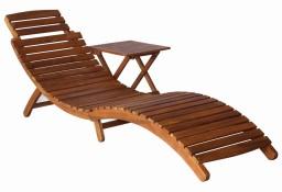 vidaXL Leżak ze stolikiem, lite drewno akacjowe, brązowy46653