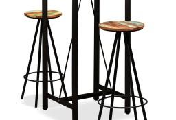 vidaXL Zestaw mebli barowych, lite drewno akacjowe i odzyskane, 3 szt.275128