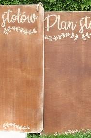 Rustykalna tablica z napisem Plan Stołów, rustykalne dekoracje -2