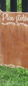 Rustykalna tablica z napisem Plan Stołów, rustykalne dekoracje -3