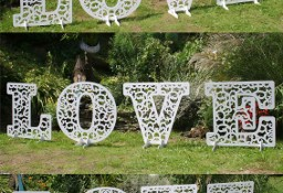 Ażurowy napis, litery LOVE, dekoracje ślubne, weselne