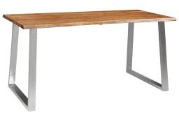 vidaXL Stół jadalniany, 160 x 80 x 75 cm, lite drewno akacjowe i stal283891
