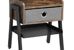 Stolik boczny, szafka nocna, industrialny z szufladą, rustykalny, loft
