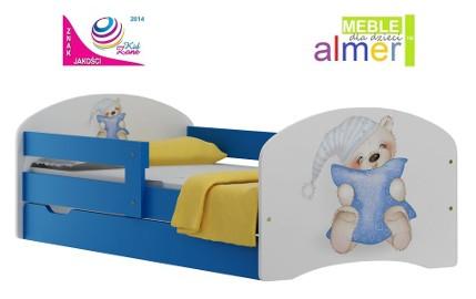 łóżeczko dla dziecka 140x70 szuflada i bajkowa grafika malowana na boku mebla