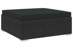 vidaXL Podnóżek modułowy z poduszką, 1 szt., polirattan, czarny 46804