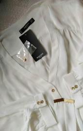 (38) MANGO/ Ekskluzywna, biała koszula biznesowa z paskiem/ bluzka/ NOWA z metką