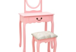 vidaXL Toaletka ze stołkiem, różowa, 65x36x128 cm, drewno paulowni MDF289331
