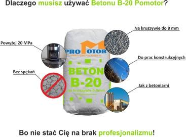 Beton B20 konstrukcyjny w workach