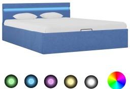 vidaXL Rama łóżka z podnośnikiem i LED, niebieska, tkanina, 120x200 cm 285614