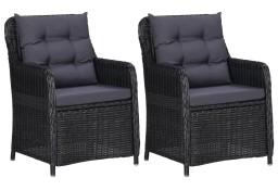 vidaXL Krzesła ogrodowe z poduszkami, 2 szt., polirattan, czarne46548