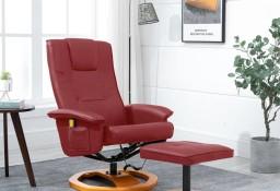 vidaXL Fotel masujący z podnóżkiem, czerwone wino, sztuczna skóra248447