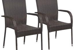 vidaXL Sztaplowane krzesła ogrodowe, 2 szt., polirattan, brązowe 44237