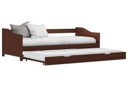 vidaXL Wysuwane łóżko, ciemny brąz, drewno sosnowe, 90x200 cm 283152