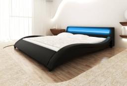 Łóżko Sztuczna skóra 180 cm Czarne Pas LED 240831
