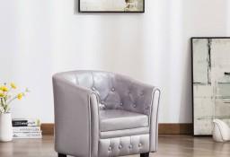 vidaXL Fotel klubowy, srebrny, sztuczna skóra248019