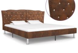 vidaXL Rama łóżka, brązowa, sztuczna skóra zamszowa, 160 x 200 cm 280545