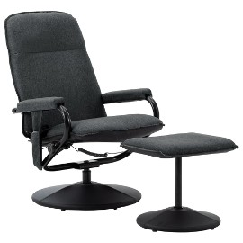 vidaXL Rozkładany fotel masujący z podnóżkiem, ciemnoszara tkanina 289857