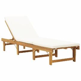 vidaXL Składany leżak z poduszką, lite drewno akacjowe 46490