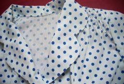 Biała Koszula Niebieskie grochy 44