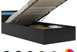 vidaXL Rama łóżka z podnośnikiem i LED, czarna, ekoskóra, 90 x 200 cm285540