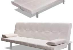 vidaXL Kanapa rozkładana z dwiema poduszkami, sztuczna skóra, kremowa 241723
