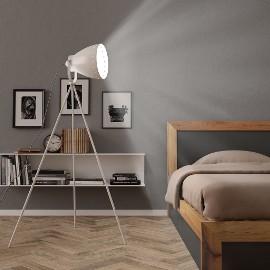 vidaXL Lampa podłogowa na trójnogu, metalowa, biała, E27 51025
