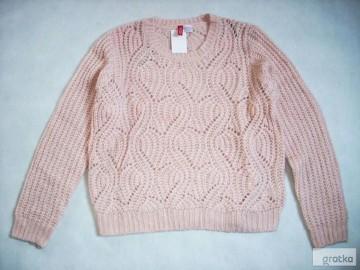 H&M sweter Pudrowy NOWY elegancki Ścieg 40 L