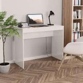 vidaXL Biurko, wysoki połysk, białe, 90x40x72 cm, płyta wiórowa 800384