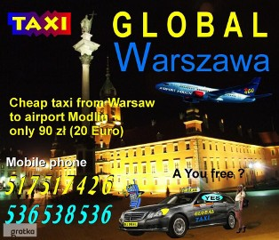 Cheap taxi from Warsaw to Modlin airport only 89 PLN mobile phone 517 517 426