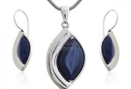 Komplet biżuteria srebrna z granatowym uleksytem - śliczny