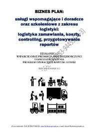 BIZNESPLAN na założenie biura logistycznego - usługi wspomagające i doradcze oraz szkoleniowe z zakresu logistyki 2012