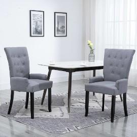 vidaXL Krzesło jadalniane z podłokietnikami, jasnoszare, materiałowe248460
