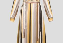 Nowa sukienka Orsay w paski L 40 retro wiązana pasy dekolt kopertowa vintage