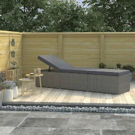 vidaXL Leżak ogrodowy z poduszką, polirattan, szary 46220