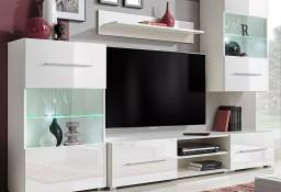 vidaXL Meble do salonu z szafką pod TV i podświetleniem LED, 5 elementów, białe 243863