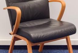 Fotel gabinetowy konferencyjny szwedzki Kinnarps czarna skóra