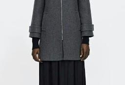 (38) ZARA/ Wełniany, szary płaszcz zimowy, kurtka zimowa z Madrytu/ NOWY z metką