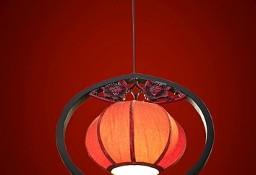 Orientalna lampa wisząca z czerwonym abażurem